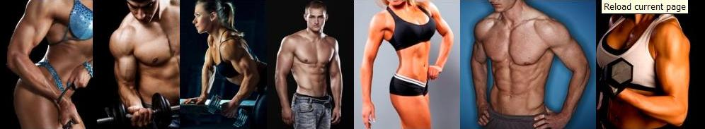 bodybuilding header featuring men and women