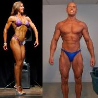 male and female competitor posing
